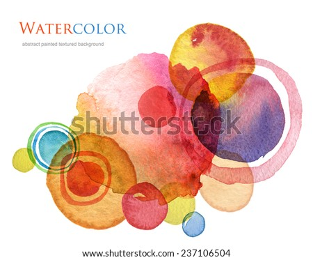 Abstract circle acrylic and watercolor painted background. - stock photo