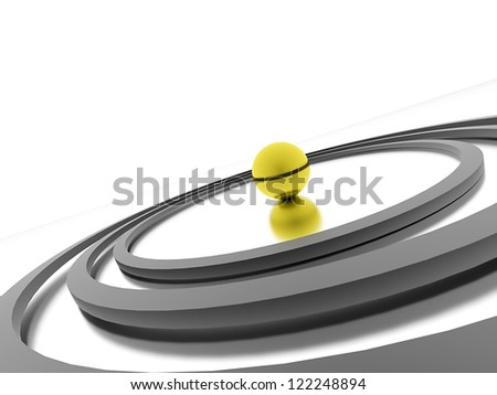 Abstract circle concept with yellow sphere on center