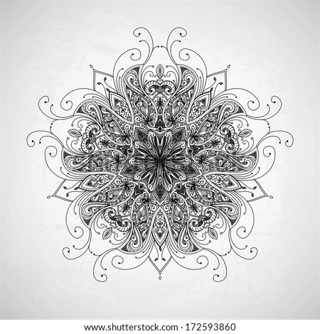 Abstract circle floral ornamental border. Lace pattern design. Hand drawn decorative background. Ornamental border frame. Can be used for banner, web design, wedding cards etc. JPG - stock photo