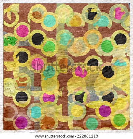 abstract circles design with wood grain texture