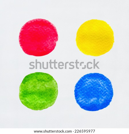 Abstract circles of watercolor painting set on white paper background.