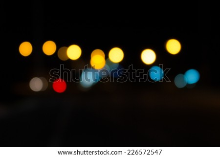 Abstract circular bokeh background of light at night
