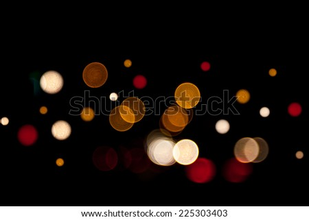 Abstract circular bokeh background of street and Christmas light.
