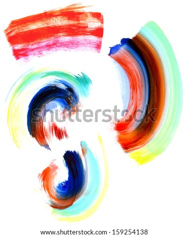 Abstract circular watercolor shapes and brush strokes in many colors. - stock photo