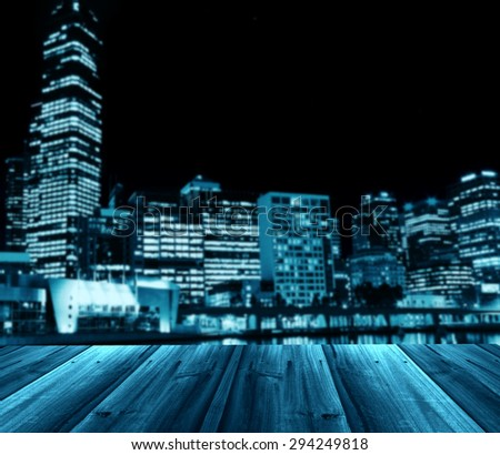 abstract city background with wooden texture - stock photo