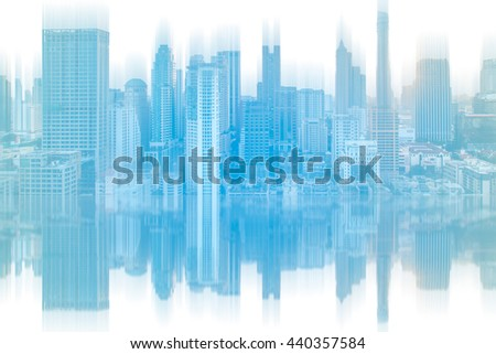 abstract city blur reflection on glass.Panoramic and perspective view  high rise building skyscraper commercial of future. Business concept of success industry tech architecture.pastel tone. - stock photo