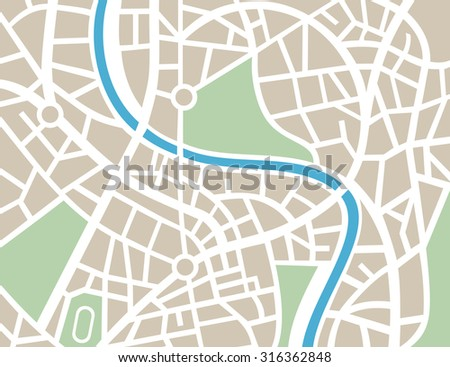 abstract city map - stock photo