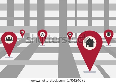 Abstract city map illustration - stock photo