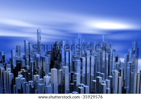 abstract city, skyscrapers city, business district, tall structures, steel and glass buildings, structures with lots of windows, skyscrapers on a blue sky