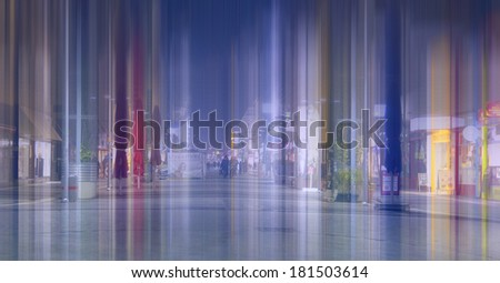 abstract city street at night  - stock photo
