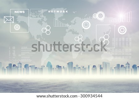 Abstract cityscape background with clouds, graphs and earth map - stock photo