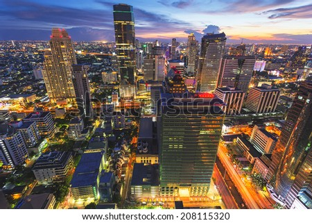 Abstract cityscape, building office in center of Thailand - stock photo
