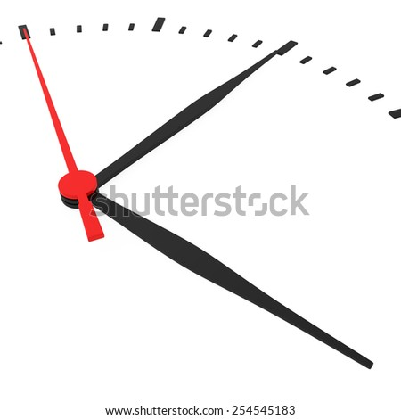 Abstract clock with arrows no numbers on a white background.
