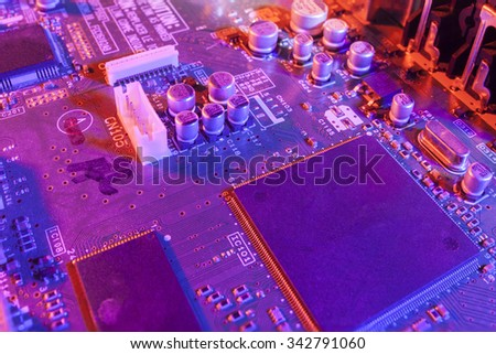 abstract close up mother board background - stock photo