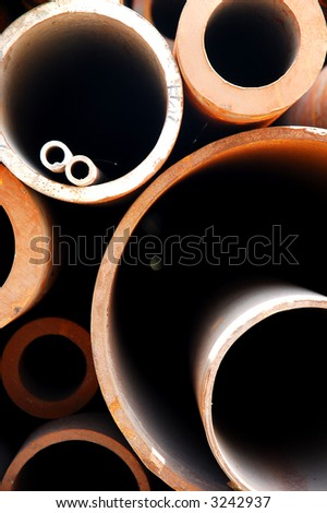 Abstract close up of a stack of steel pipes in China