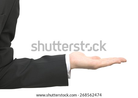 Abstract closeup business male hand in presenting gesture isolated on white