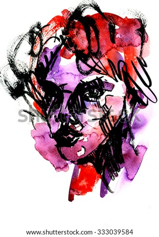 Abstract closeup female face portrait watercolour aquarelle hand drawn colorful decor black strokes violet red blots blobs and stains on white background, vertical picture
