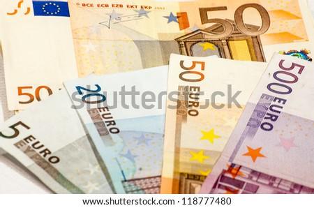 Abstract closeup of euro money - stock photo