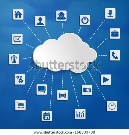 Abstract cloud computing with media icons on a blue background