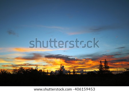 abstract cloud with the sunset
