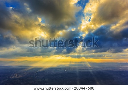Abstract cloudscape, god light - stock photo