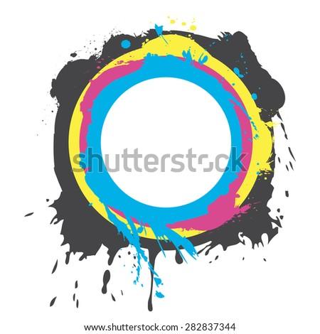 Abstract CMYK paint splash - stock photo