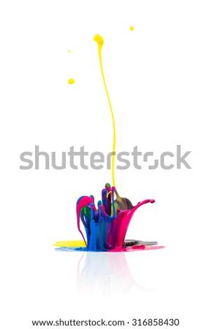 abstract CMYK paint splashing - stock photo