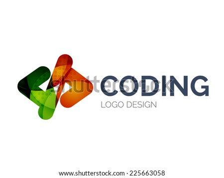 Abstract code icon logo design made of color pieces - various geometric shapes - stock photo