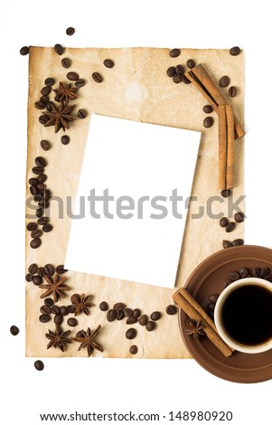 Abstract Coffee Background with Cup of Coffee and Copy space