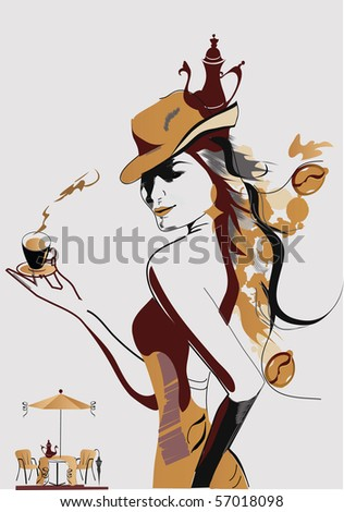Abstract Coffee girl - stock photo