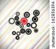 abstract cogwheels or gears in balanced & synchronous rotating motion. This graphic also represents teamwork, leadership, balance, synchronized motion, unity, solidarity, etc - stock photo