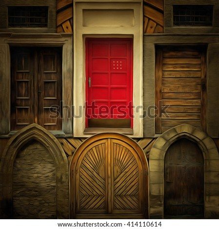 Abstract collage of the old doors - digitally altered - stock photo
