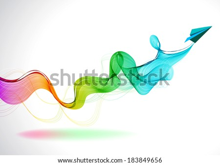 Abstract color background with paper air plane and wave for design