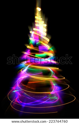 abstract color christmas tree from xmas lights  - stock photo
