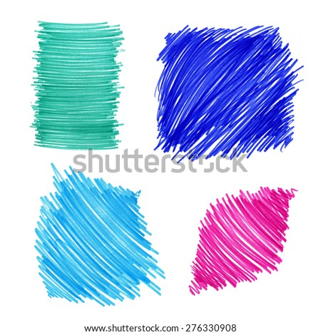 Abstract color drawn elements for design on white background - stock photo