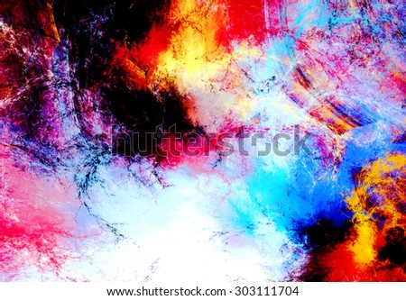 Abstract color dynamic background with lighting effect. Futuristic bright painting texture for creativity graphic design. Shiny pattern for wallpaper, poster, cover booklet, flyer, banner. Fractal art - stock photo
