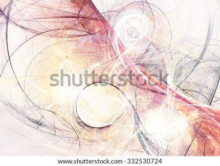 Abstract color fantasy. Artistic bright background with twirl, swirl, spirals on white. Fine pattern with lighting effect for creative graphic design. Fractal art - stock photo