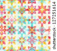 Abstract color flowers seamless pattern (raster version) - stock photo