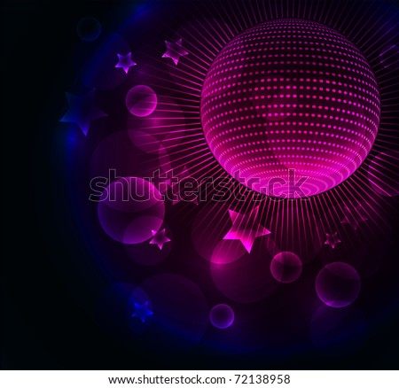 Abstract color glowing background with disco ball - stock photo