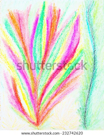 Abstract color painting. Hand-drawn illustration. Color oil pastels on canvas. - stock photo