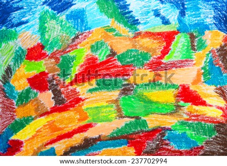 Abstract color painting. Hand-drawn illustration. Color oil pastels on watercolor paper. - stock photo