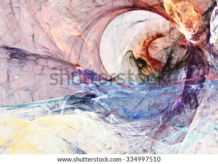Abstract color smoke. Dynamic background with lighting effect. Futuristic bright painting texture for creative graphic design. Artistic dynamic pattern. Fractal art - stock photo