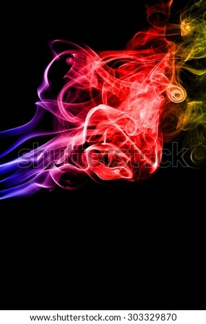 Abstract color smoke on black background, smoke background,colorful ink background,blue,red,yellow, beautiful smoke