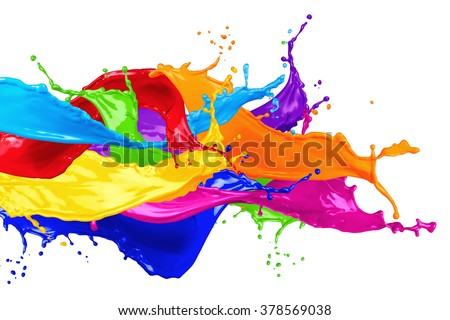 abstract color splash isolated on white background - stock photo