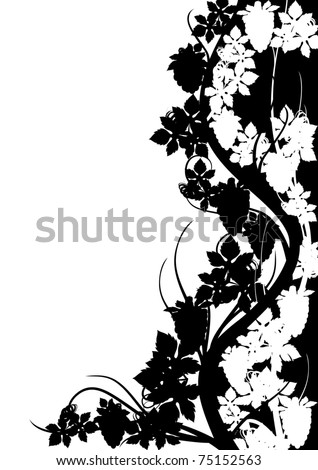 Abstract colored background with bunches of grapes and leaves