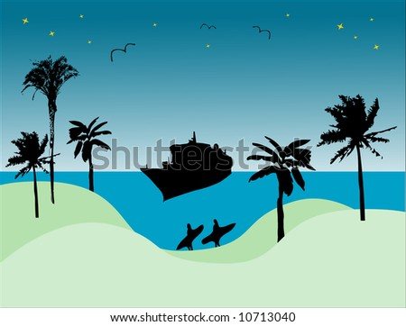 Abstract colored illustration with palms, ship, seagulls and surfers