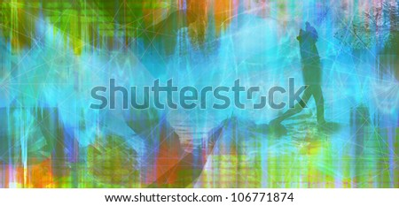 abstract colored timeline image with man silhouette - stock photo