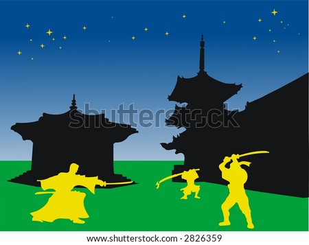 abstract colored wallpaper with japanese buildings and samurai warriors fighting - stock photo
