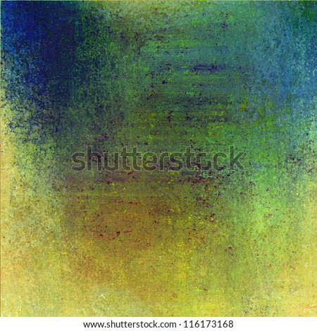 abstract colorful background layout design with vintage grunge background texture, gold and blue background with orange red green center, fun grungy blue background for kids school brochure paper - stock photo