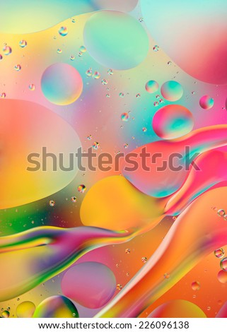 abstract colorful background, oil drops on water - stock photo